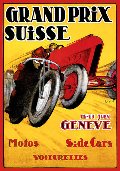 Painting - Grand Prix Suisse Geneve by Vintage Automobile Ads and Posters