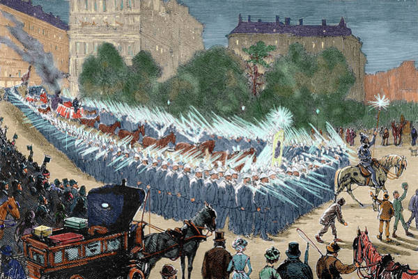 Stagecoach Photograph - Grand Procession To The Electric Light by Prisma Archivo