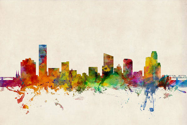 Watercolour Digital Art - Grand Rapids Michigan Skyline by Michael Tompsett