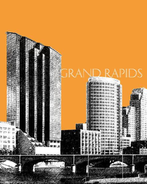 Wall Art - Digital Art - Grand Rapids Skyline - Orange by DB Artist
