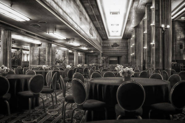 Wall Art - Photograph - Grand Salon 05 Queen Mary Ocean Liner Bw by Thomas Woolworth