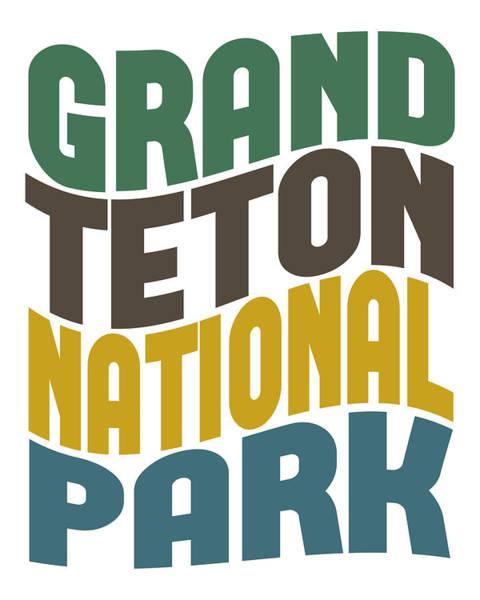 Teton National Park Digital Art - Grand Teton National Park Retro Wave by Flo Karp