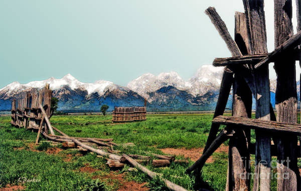Teton National Park Digital Art - Grand Tetons -- Mormon Row 6 by Linda  Parker