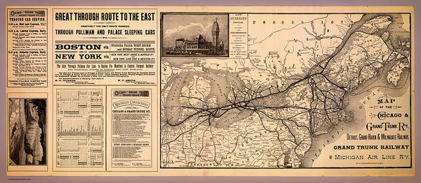 Collectible Art Drawing - Grand Trunk Railway Map 1887 by Mountain Dreams