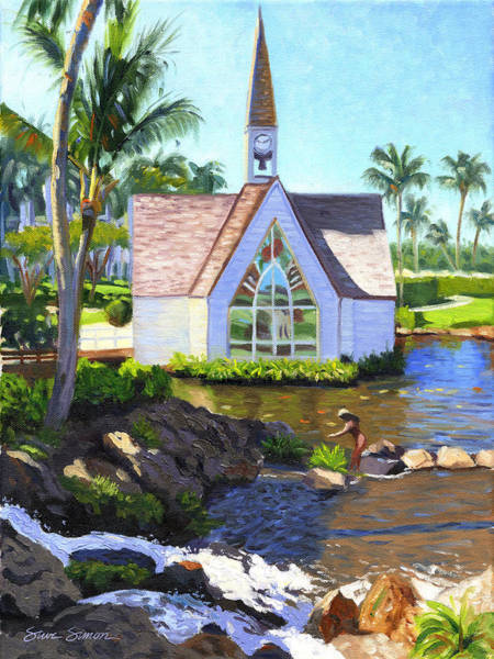 Chapels Painting - Grand Wailea Seaside Chapel by Steve Simon