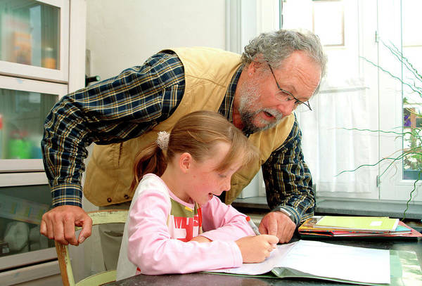 Grandpa Photograph - Grandfather Helping His Grandaughter by Cc Studio/science Photo Library