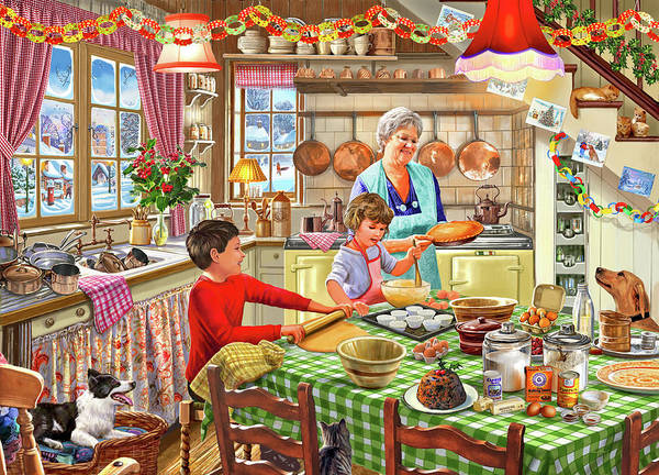 Butter Painting - Grandma Christmas Baking by MGL Meiklejohn Graphics Licensing