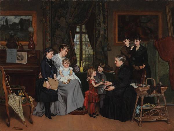 Granddaughter Painting - Grandmas Birthday by Louis Edmond Pomey