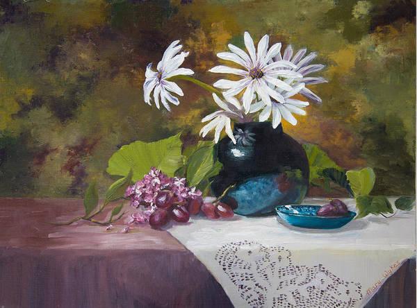 Doily Painting - Grandma's Daisies by Mary Beglau Wykes