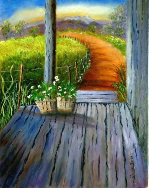 Fencepost Painting - Grandma's Old Country Porch by Janis  Tafoya