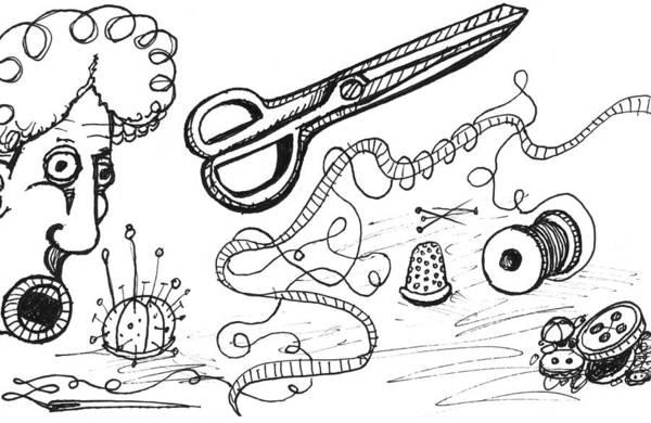Sock Monkey Drawing - Grandma's Sewing Mishap by Ever Inward