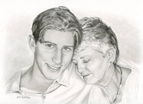Hand Drawn Drawing - Grandmother And Grandson by Sarah Batalka