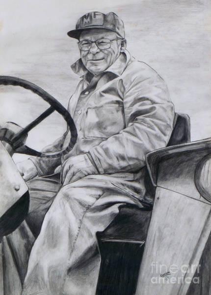 Old Tractor Drawing - Grandpa by Joy Nichols