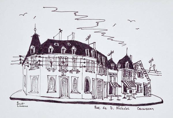 Ink Sketch Photograph - Granite Houses Along Rue De D by Richard Lawrence