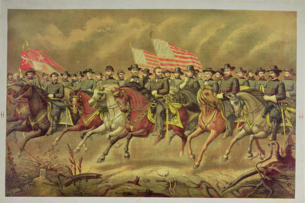 Cavalry Photograph - Grant And His Officers Colour Litho by E. Boell