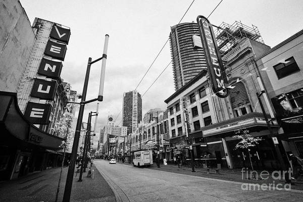 Wall Art - Photograph - granville street shopping are at the orpheum theatre home of the vancouver symphony Vancouver BC Can by Joe Fox