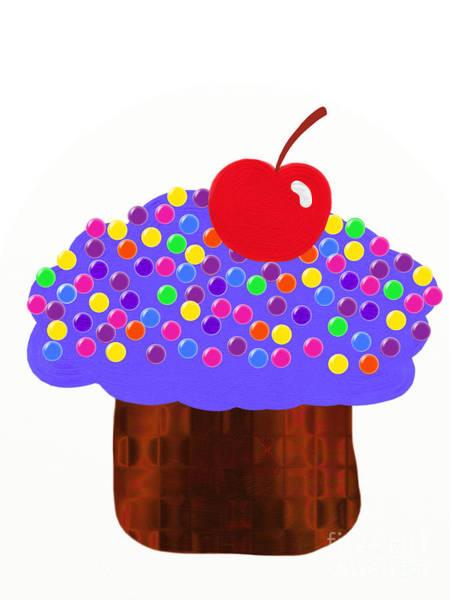 Digital Art - Grape Cupcake by Andee Design