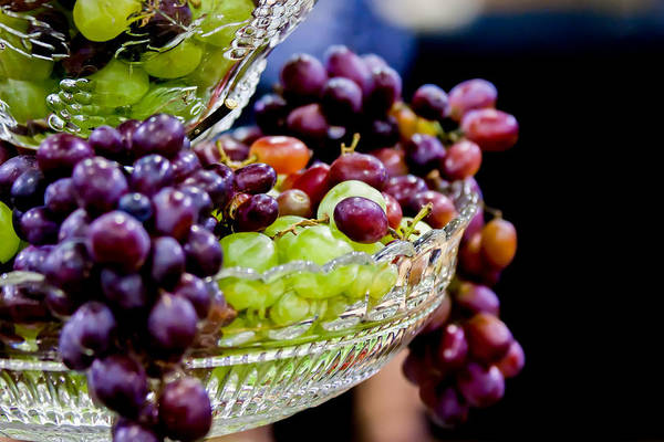 Photograph - Grapes Hanging Out From Crystal Dish by Alex Grichenko