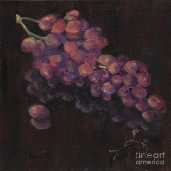 Wall Art - Painting - Grapes In Reflection by Maria Hunt