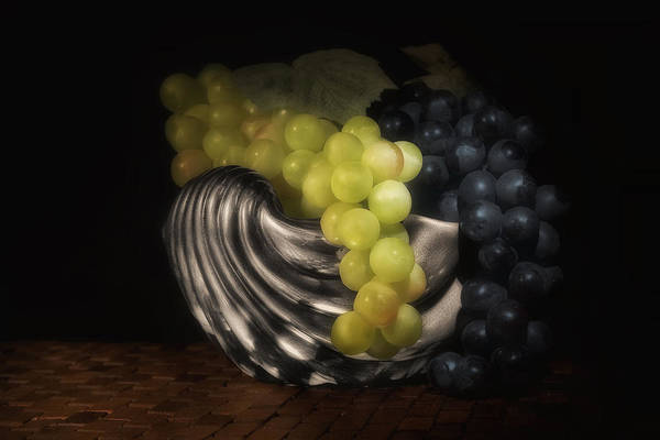Bowl Wall Art - Photograph - Grapes In Silver Seashell Still Life by Tom Mc Nemar