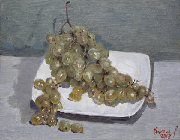 Plates Wall Art - Painting - Grapes by Ylli Haruni