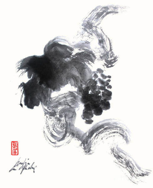 Painting - Grapevine Sumi Painting In Zen Style by Nadja Van Ghelue