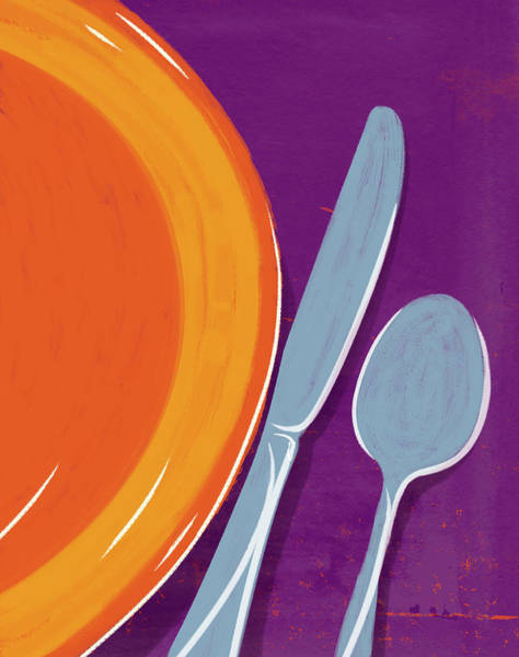 Knife Digital Art - Graphic Hand Painted Dinner Setting by Don Bishop