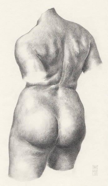 Drawing - Graphite Drawing Of Bronze-torso Maillol Sculpture Chained Action by Scott Kirkman