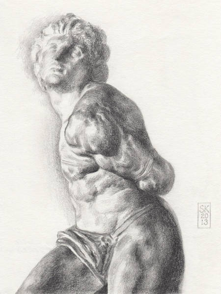 Drawing - Graphite Drawing Of The Rebellious Slave Sculpture By Michelangelo Buonarotti by Scott Kirkman