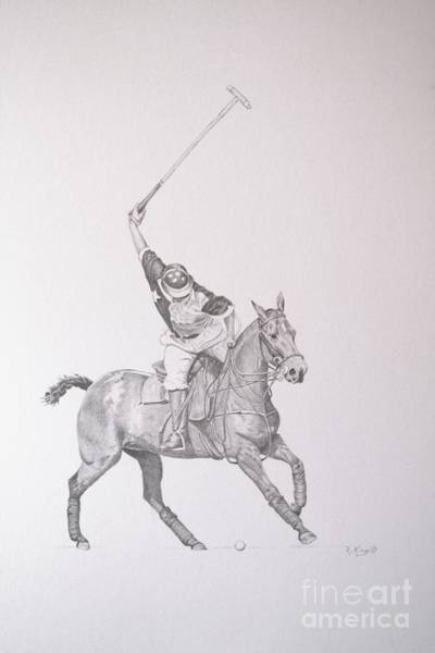 Wall Art - Drawing - Graphite Drawing - Shooting For The Polo Goal by Roena King