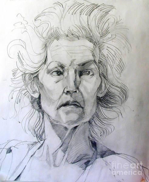 Drawing - Graphite Portrait Sketch Of A Well Known Cross Eyed Model by Greta Corens