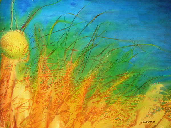 River Scene Mixed Media - Grass Along The River by Lenore Senior