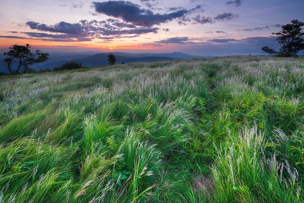 Bald Mountain Photograph - Grassy Bald Ridge Sunrise by Bernard Chen