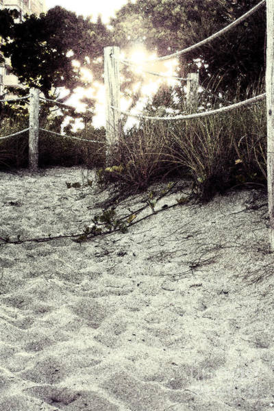 Photograph - Grassy Beach Post Entrance At Sunset 2 by Janis Lee Colon