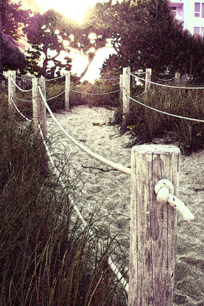 Photograph - Grassy Beach Post Entrance At Sunset by Janis Lee Colon