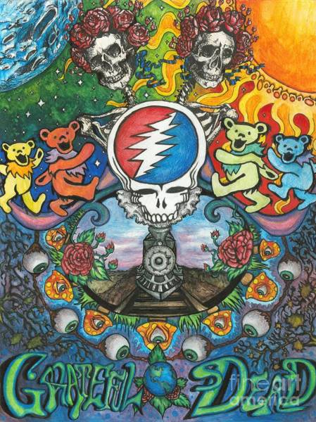 Rock Music Drawing - Grateful Dead Fantasy by Amanda Paul