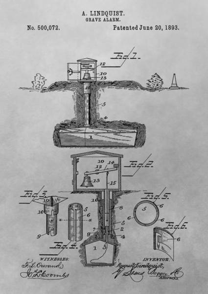 Haunted House Drawing - Grave Alarm Patent Drawing by Dan Sproul
