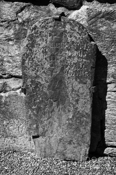 Wall Art - Photograph - Gravestone Inside The Cathedral At Glendalough Dennis Died In 1741 Aged 60 Years by Joe Fox