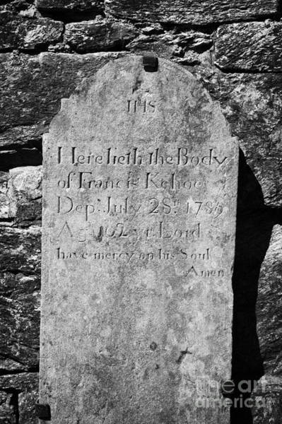 Wall Art - Photograph - Gravestone Inside The Cathedral At Glendalough Francis Kehoe Died In 1789  by Joe Fox