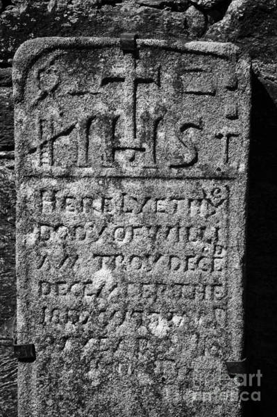 Wall Art - Photograph - Gravestone Inside The Cathedral At Glendalough William Troy by Joe Fox