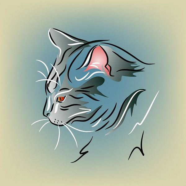 Digital Art - Gray Cat In Profile by MM Anderson
