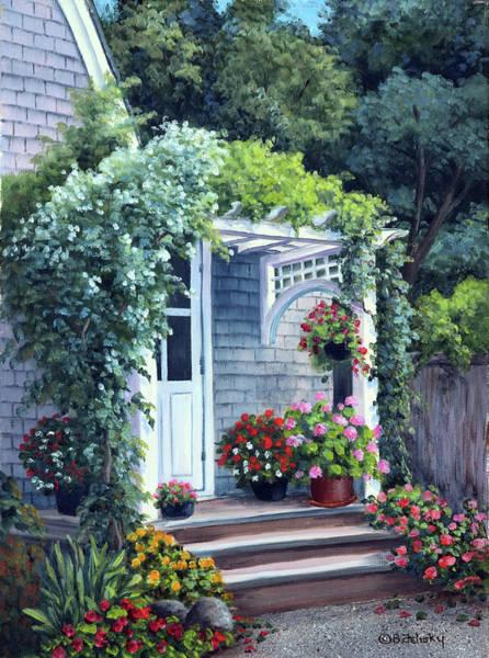 Porch Painting - Gray House Arbor by Barbara Felisky
