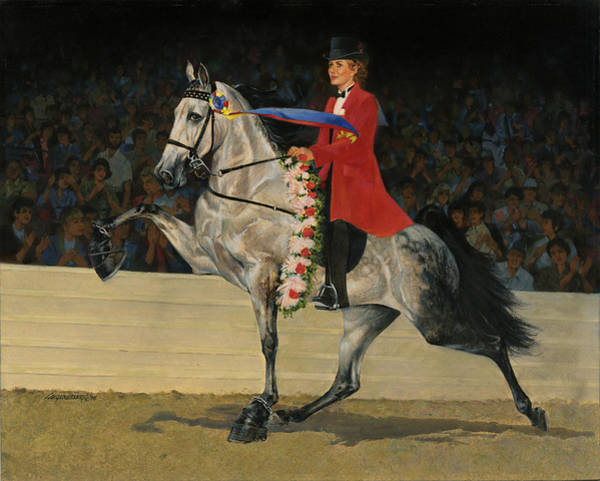 Wall Art - Painting - Gray Tennessee Walking Horse - Female Red Coat by Don  Langeneckert