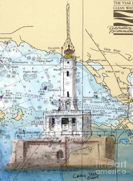 Wall Art - Painting - Grays Reef Lighthouse Mi Nautical Chart Map Art Cathy Peek by Cathy Peek