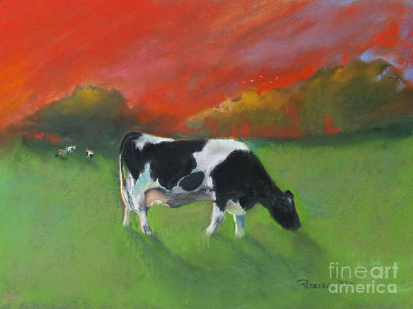 Pastel - Grazing Cow by Robin Maria Pedrero