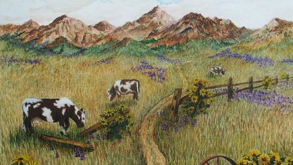 Wall Art - Painting - Grazing Cows by Katherine Young-Beck