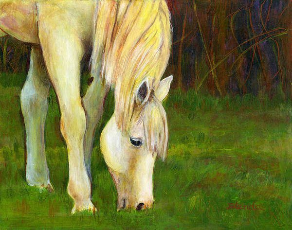 White Horse Wall Art - Painting - Grazing Horse by Blenda Studio