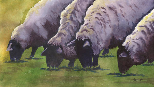 Sheep Painting - Grazing by Marsha Elliott