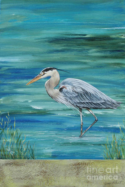 Emboss Wall Art - Painting - Great Blue Heron 1 by Jean Plout