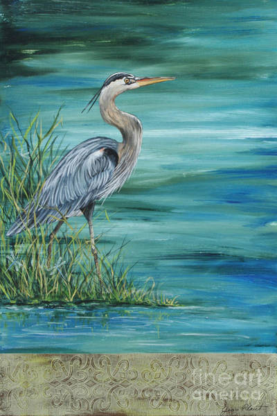 Feather River Wall Art - Painting - Great Blue Heron  2 by Jean Plout